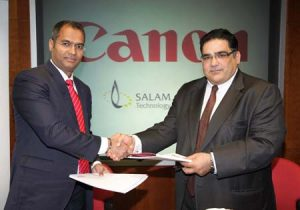 From left to right - Anurag Agrawal, Managing Director of Canon Middle East and Mahmoud El Deeb, Managing Director of Salam.