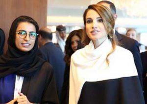 Noura Al Kaabi with Queen Rania of Jordan at Abu Dhabi Media Summit 2014.