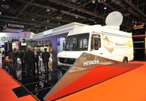On the show floor at CABSAT 2014.