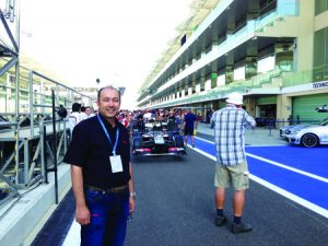 Ahmed Magd El Din, Head of Riedel's Dubai operations, at the Yas Marina Circuit during the Abu Dhabi Grand Prix.