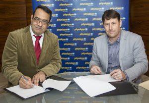 Physique TV's CEO Hamid Dizji (l) with Dean O'Grady of Dubai Desert Run.