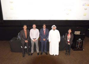 Narendra Menon (Regional Head – Sales & Marketing, Nikon Middle East), Toni El Massih (Director of Film Content & Distribution, VOX Cinemas), Deepak Jain (Festival Director – CIFF 2015), Walid Kahoor (DFTC), Jyoti Jain (Creative Director – CIFF 2015)