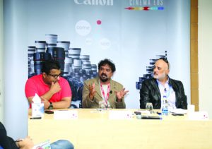 From left: Mohammed Albsimi, Santhosh Sivan and Antoine Atyeh.