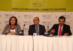 Yahsat CCO, David Murphy, flanked by Executive Director Ms . Najat Khalid Rahmam (l) and Regional Director Sajid Shabir Mangrio address the press in Islamabad, Pakistan.