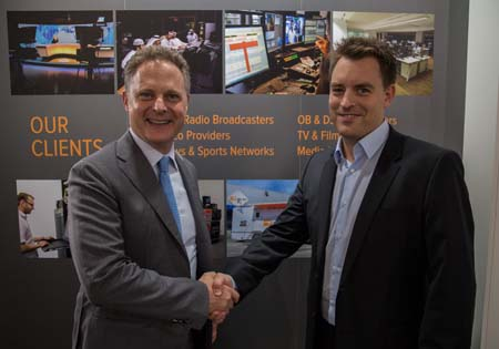 Daniel Url (r), Managing Director of Qvest Media and Eric Achtmann, Executive Chairman and Founder of V-Nova, at IBC 2015.
