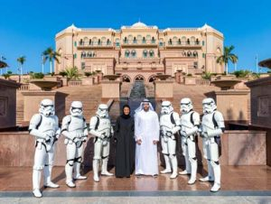 H.E. Noura Al Kaabi, twofour54 CEO and Chairman of Abu Dhabi Tourism & Culture Authority and H. E. Mohamed Khalifa Al Mubarak with the Stormtroopers.