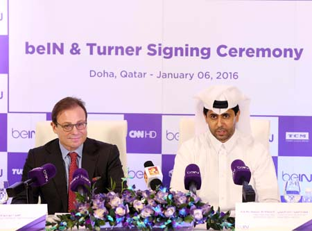From left: Giorgio Stock, President of Turner EMEA and Nasser Al-Khelaifi, Chairman and CEO of beIN Media Group.
