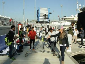 The crew on location in Abu Dhabi.