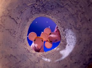 The Clangers are a family of pink, long-nosed, inventive and loveable mouse-shaped creatures who live on a small blue planet, out in the starry stretches of space, not far from Earth.