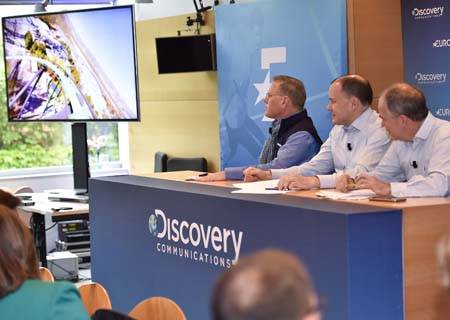 From left: David Zaslav, JB  Perrette and Peter Hutton at Discovery's press con in Paris.