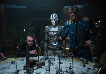 Left to right: Simon Pegg plays Scotty, Sofia Boutella plays Jaylah and Chris Pine plays Kirk in Star Trek Beyond from Paramount Pictures, Skydance, Bad Robot, Sneaky Shark and Perfect Storm Entertainment.
